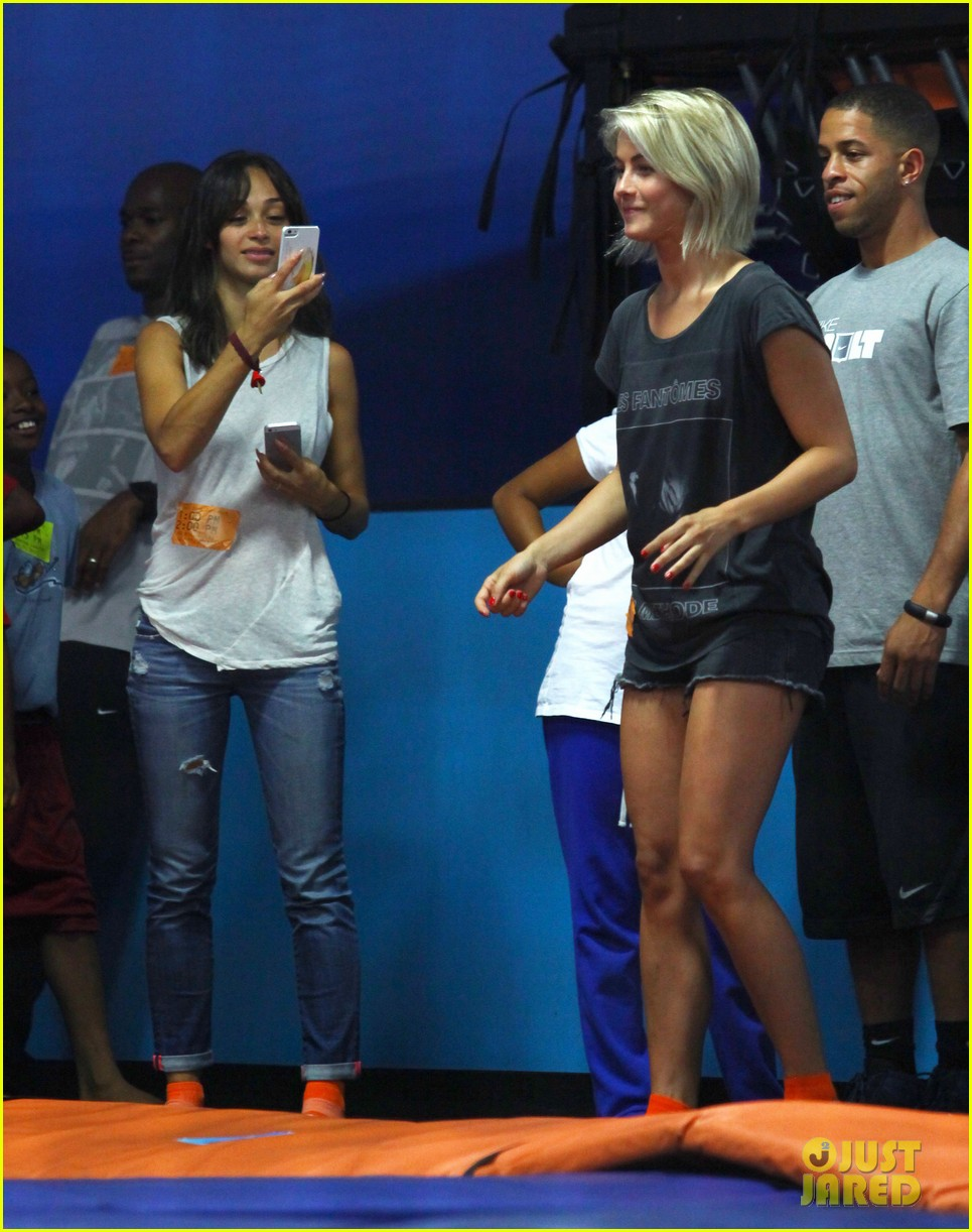 julianne hough tumbles in the air at trampoline park 082908432