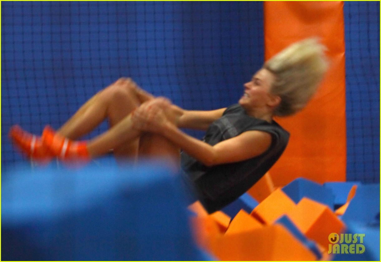 julianne hough tumbles in the air at trampoline park 18