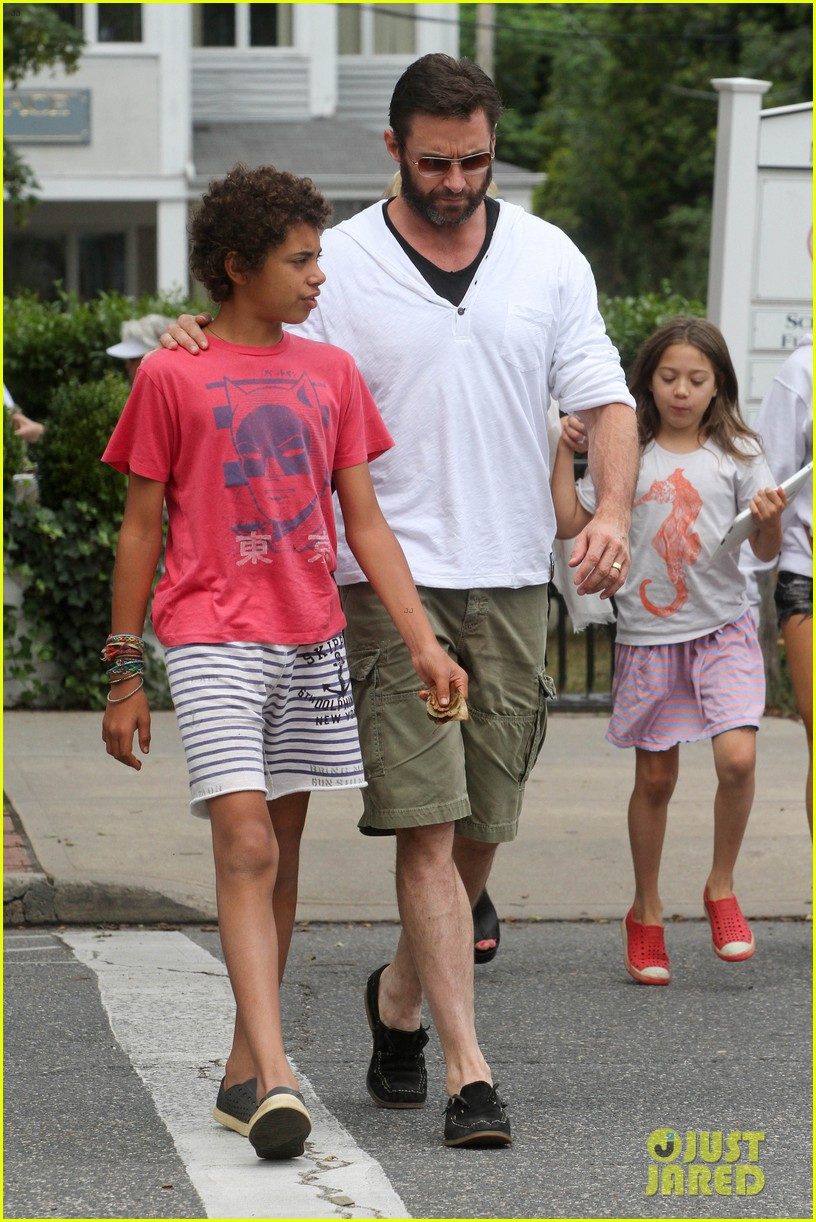 hugh jackman hangs with family wolverine hits theaters 01