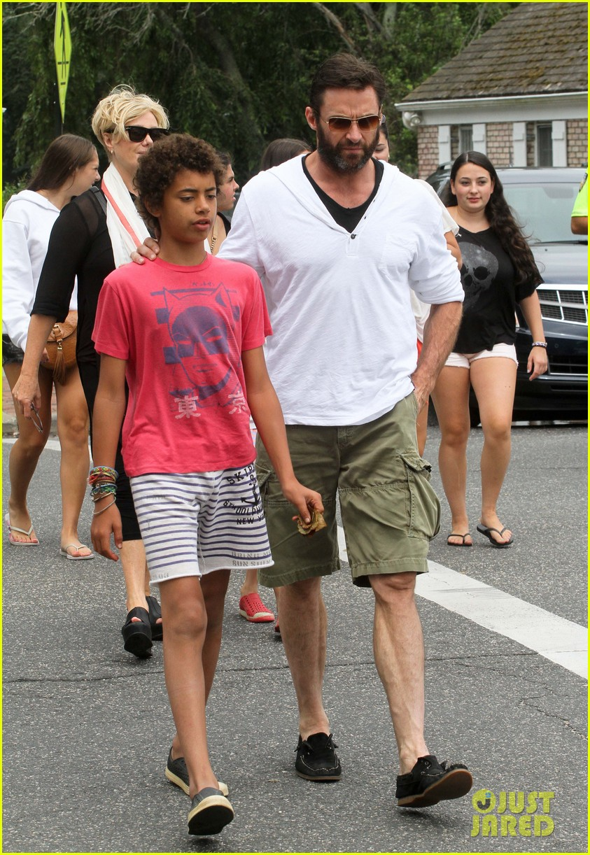 hugh jackman hangs with family wolverine hits theaters 112917609