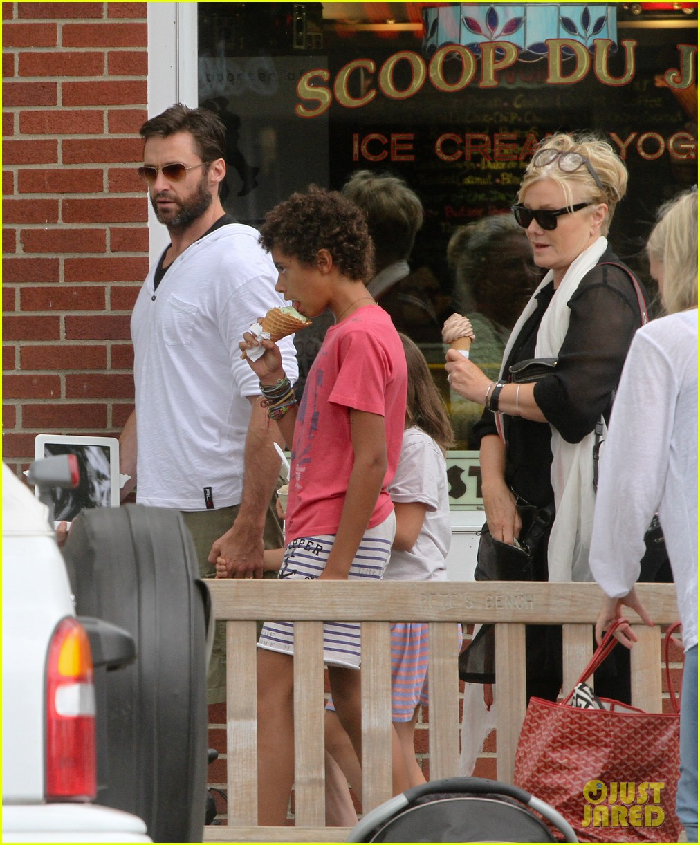 hugh jackman hangs with family wolverine hits theaters 142917612