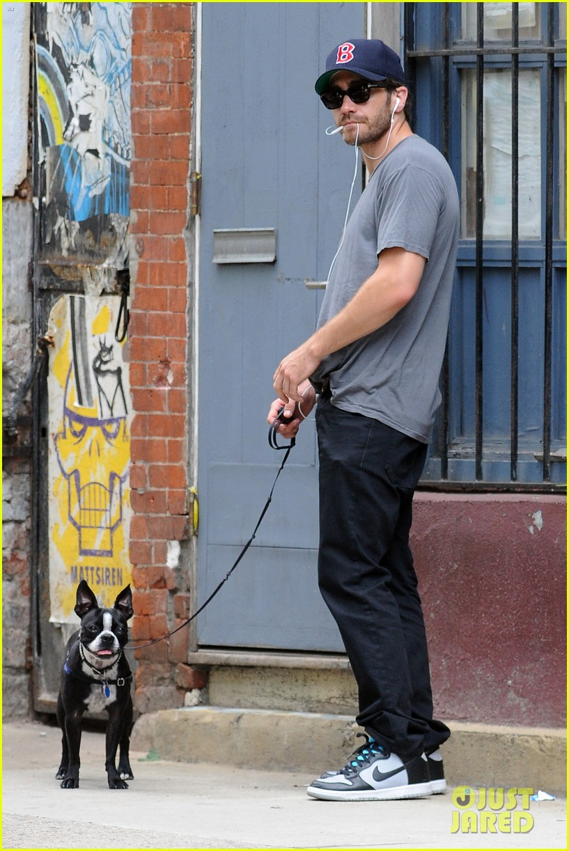 jake gyllenhaal takes his dog for a walk in nyc 162907445