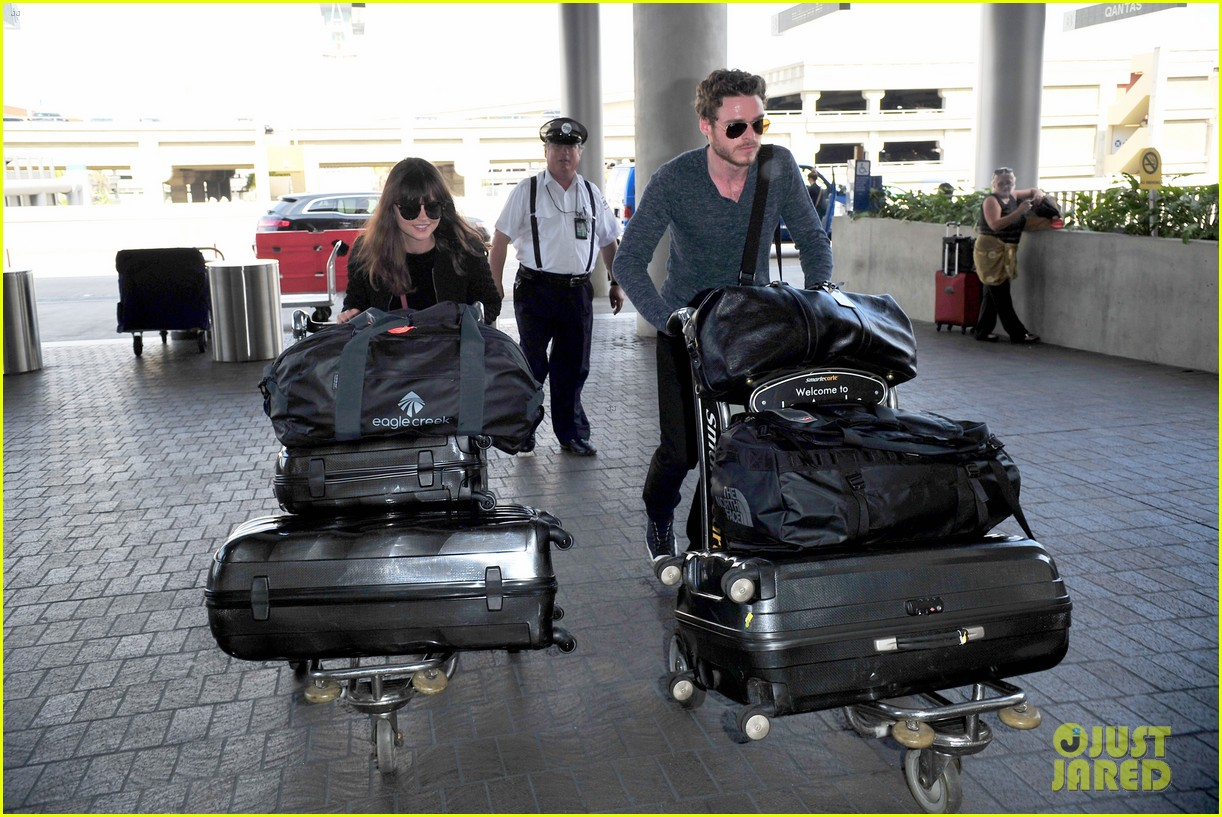 richard madden jenna coleman lots of luggage at lax 062917823