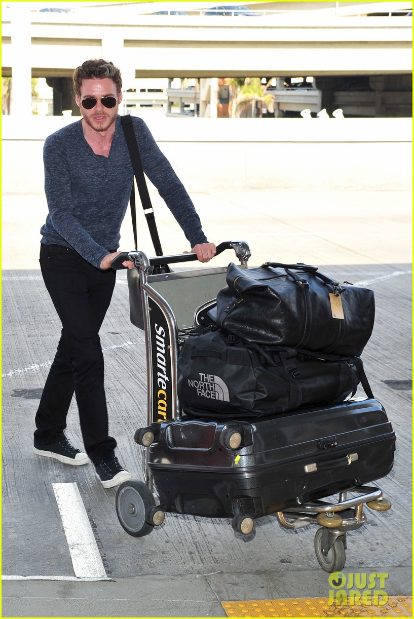 richard madden jenna coleman lots of luggage at lax 102917827