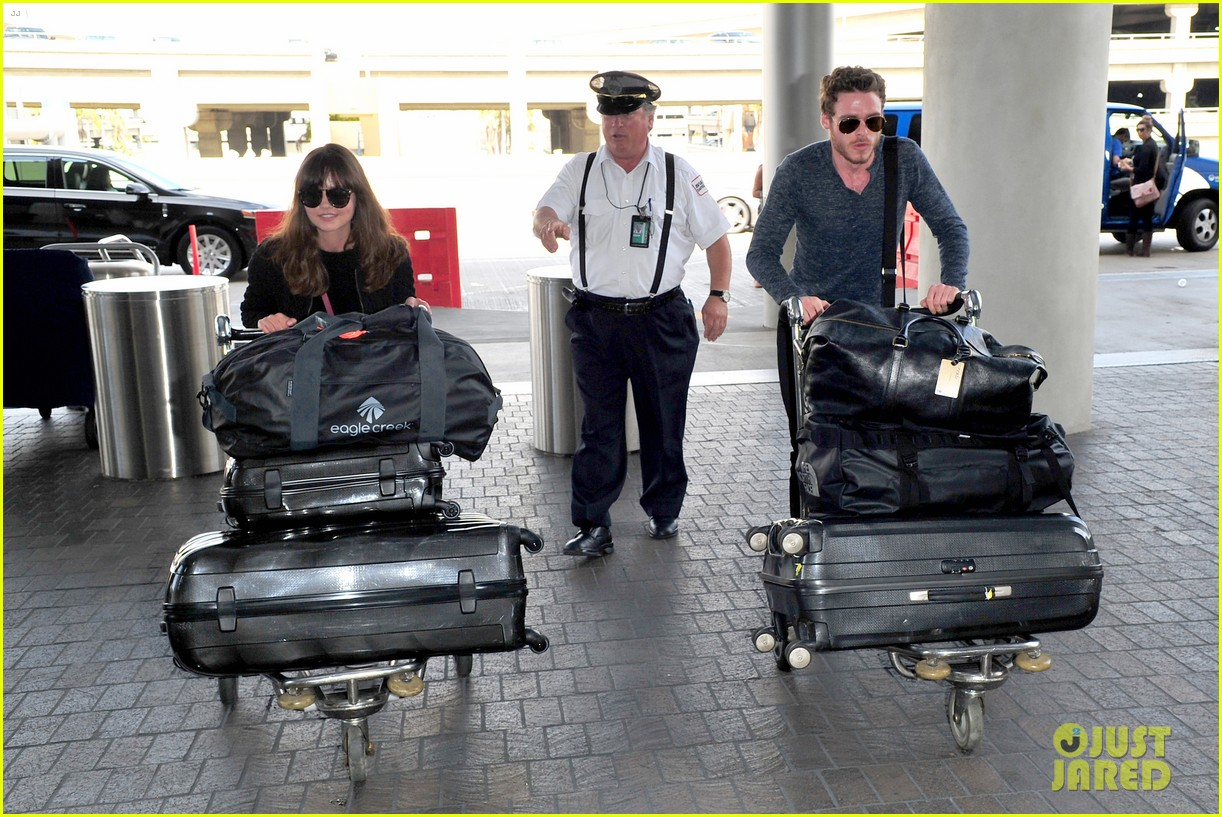 richard madden jenna coleman lots of luggage at lax 242917841
