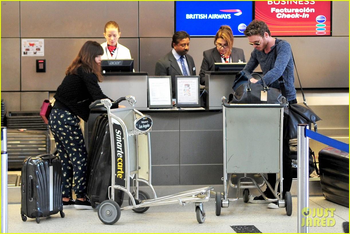 richard madden jenna coleman lots of luggage at lax 282917845
