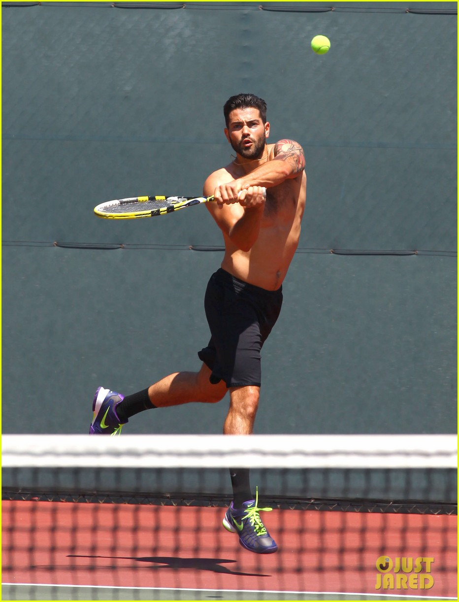 jesse metcalfe shirtless tennis playing with cara santana 192908076