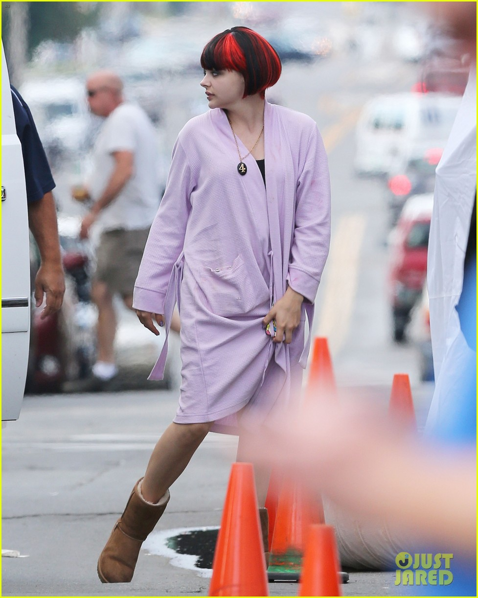 chloe moretz wears multi colored wig for equalizer filming 05
