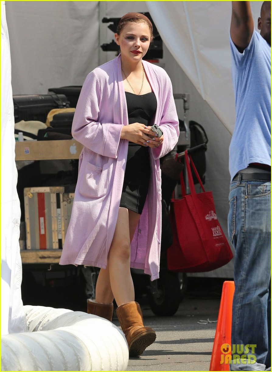 chloe moretz wears multi colored wig for equalizer filming 072912068