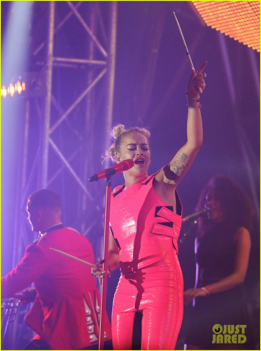 rita ora wears pink leather bodysuit at music festival 132917858