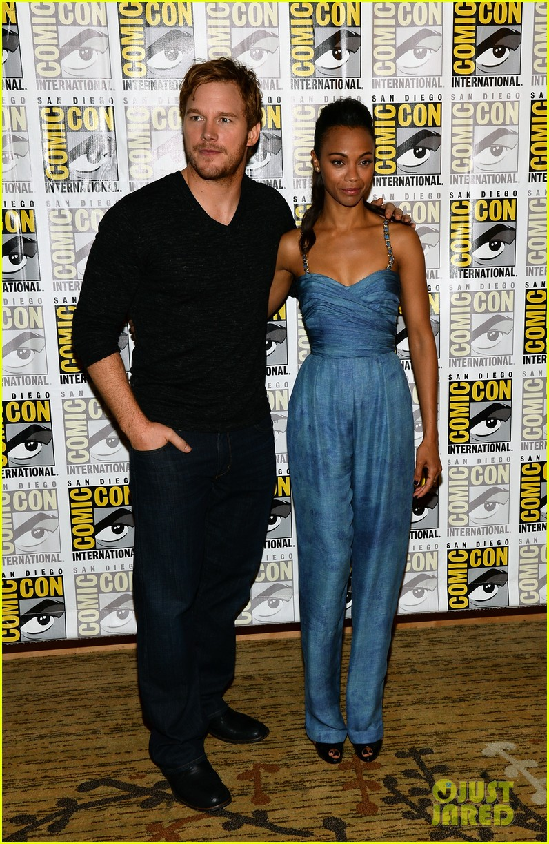 chris pratt zoe saldana guardians of the galaxy comic con panel 222913484