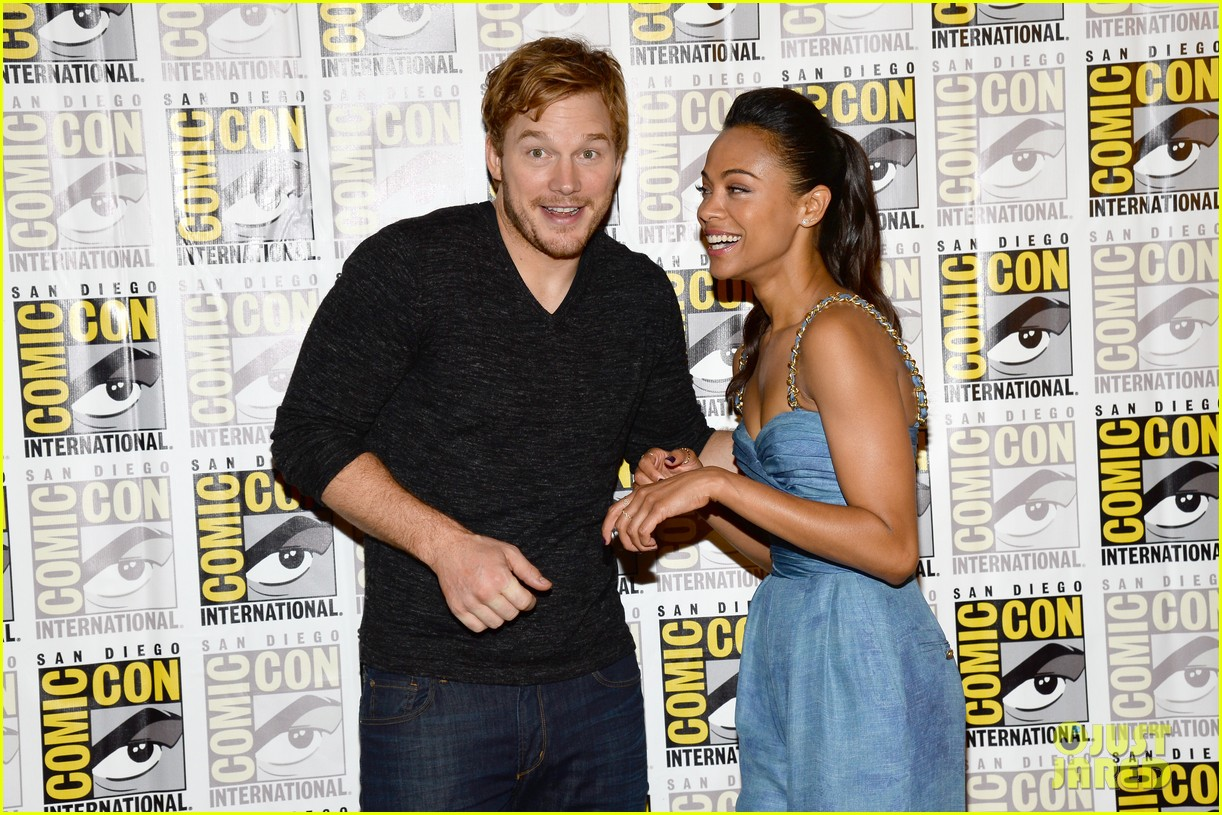 chris pratt zoe saldana guardians of the galaxy comic con panel 232913485
