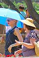 gwen stefani sun blocking umbrella at underwood family farms 30