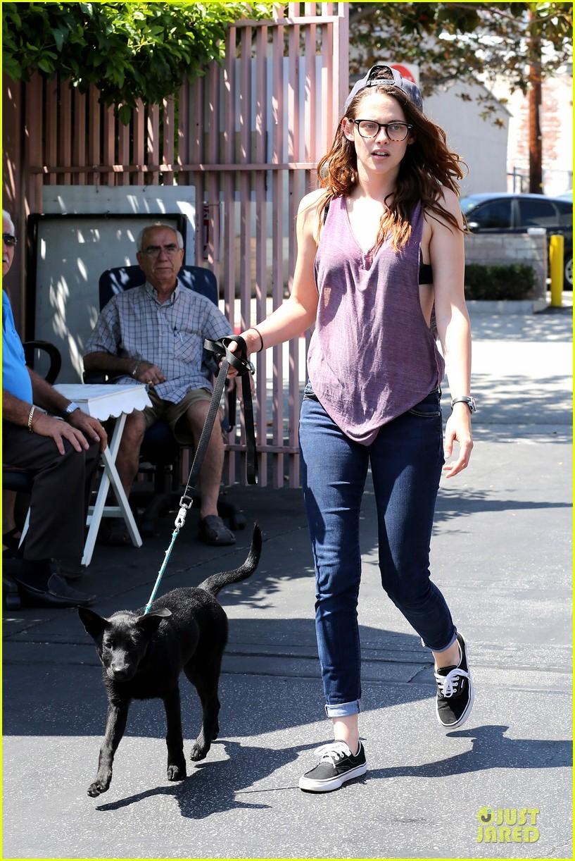 kristen stewart bra revealing walk with new puppy 092920417
