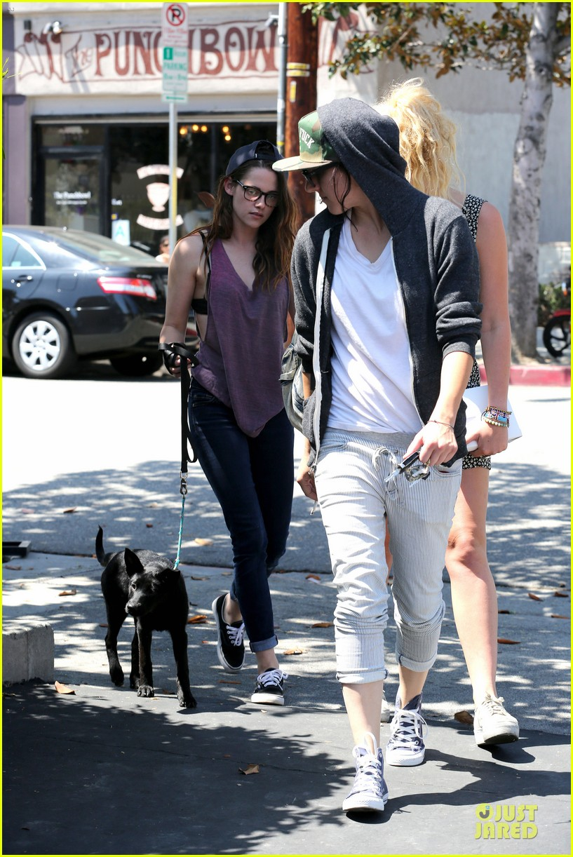 kristen stewart bra revealing walk with new puppy 182920426