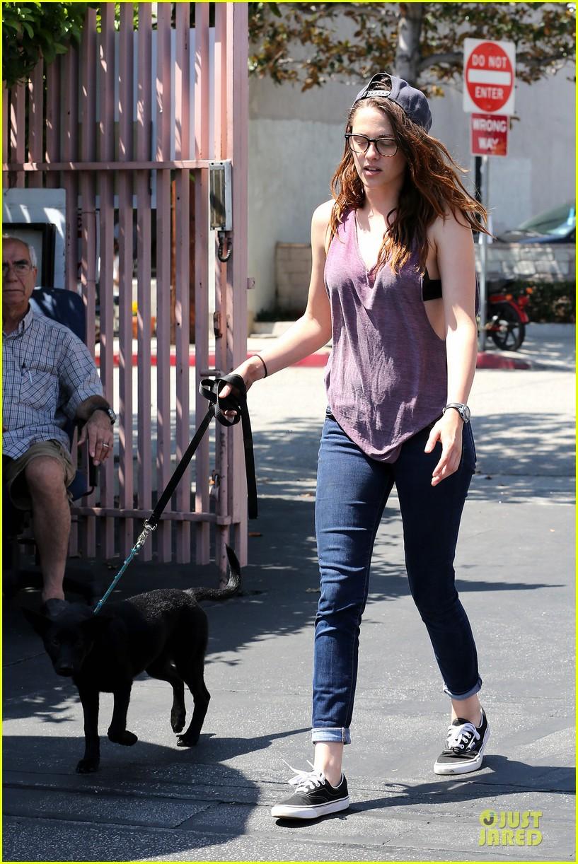kristen stewart bra revealing walk with new puppy 302920438
