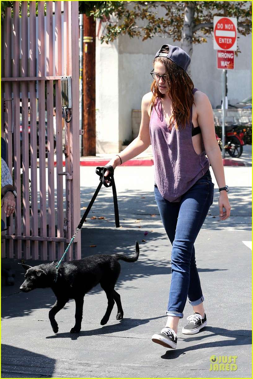 kristen stewart bra revealing walk with new puppy 312920439