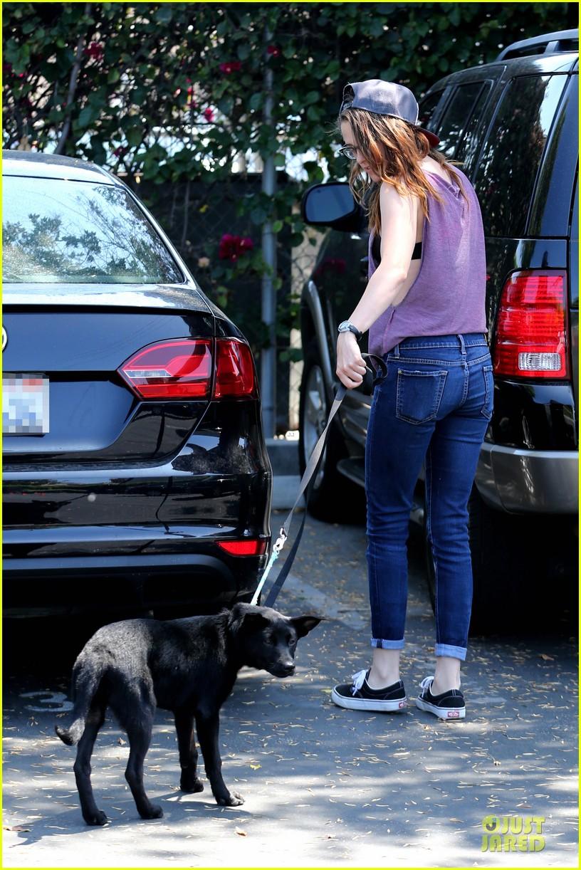 kristen stewart bra revealing walk with new puppy 332920441