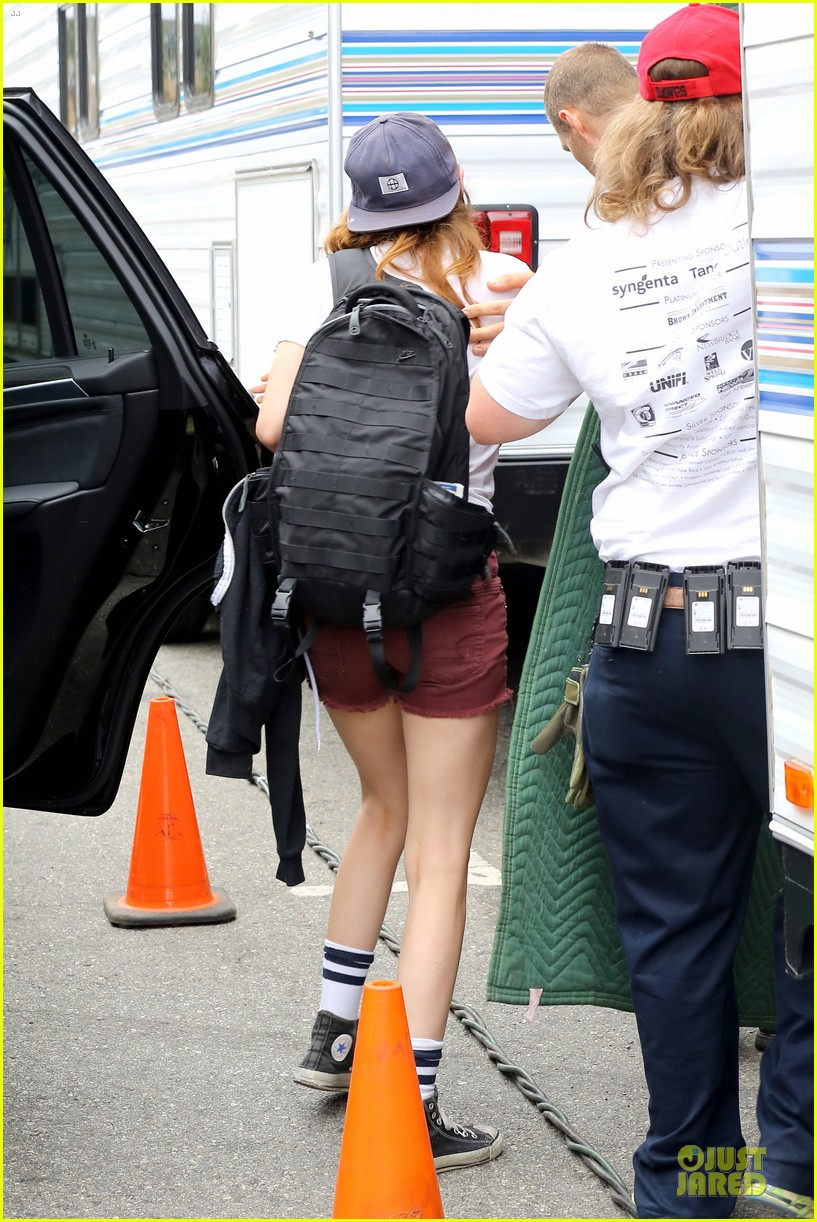 kristen stewart snacks coconut water for camp x ray set 122912870