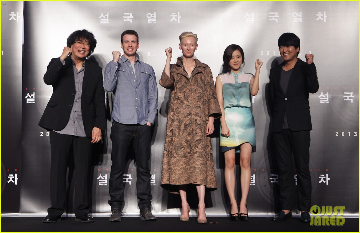tilda swinton chris evans snowpiercer seoul press conference 062919234