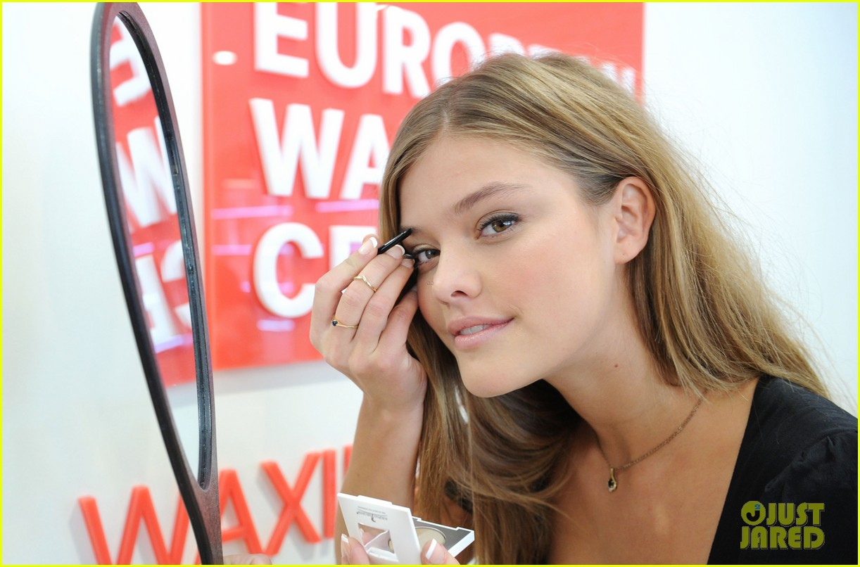nina adgal tends to her brows at the european wax salon 102930126