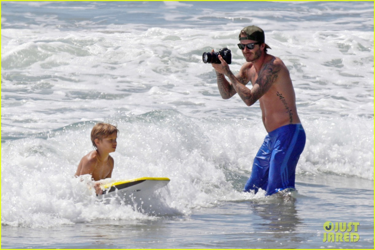 david beckham shirtless surfing with the boys 062940357