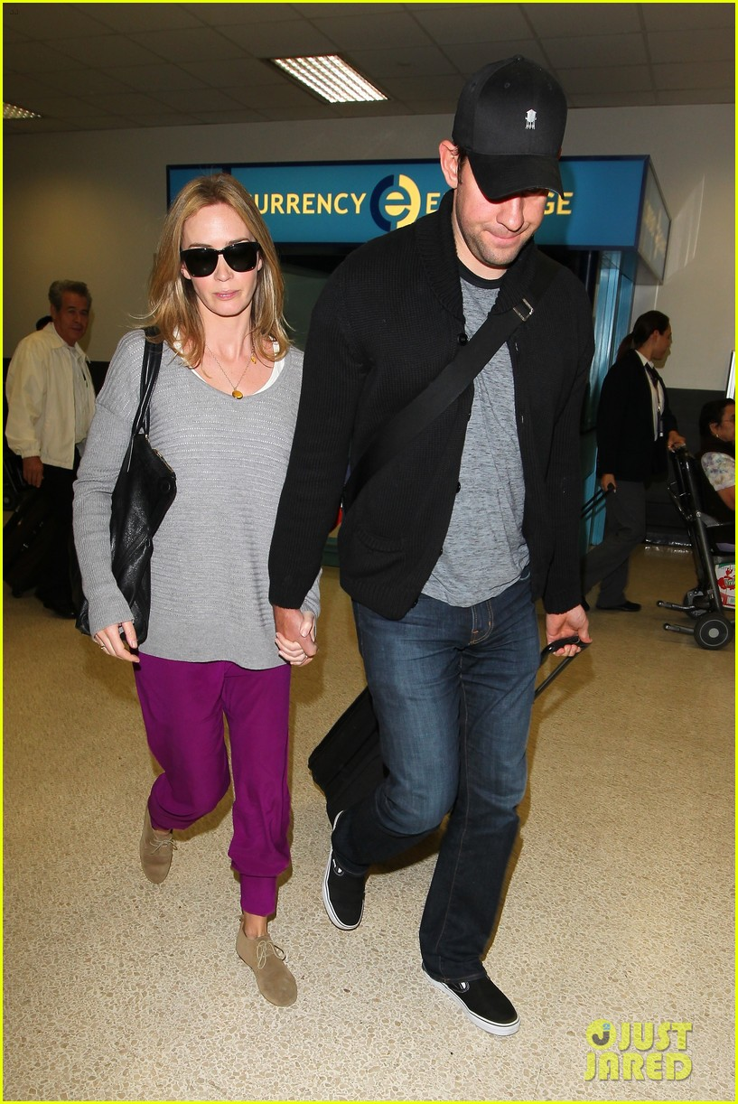 emily blunt john krasinski hold hands for lax landing 122940472