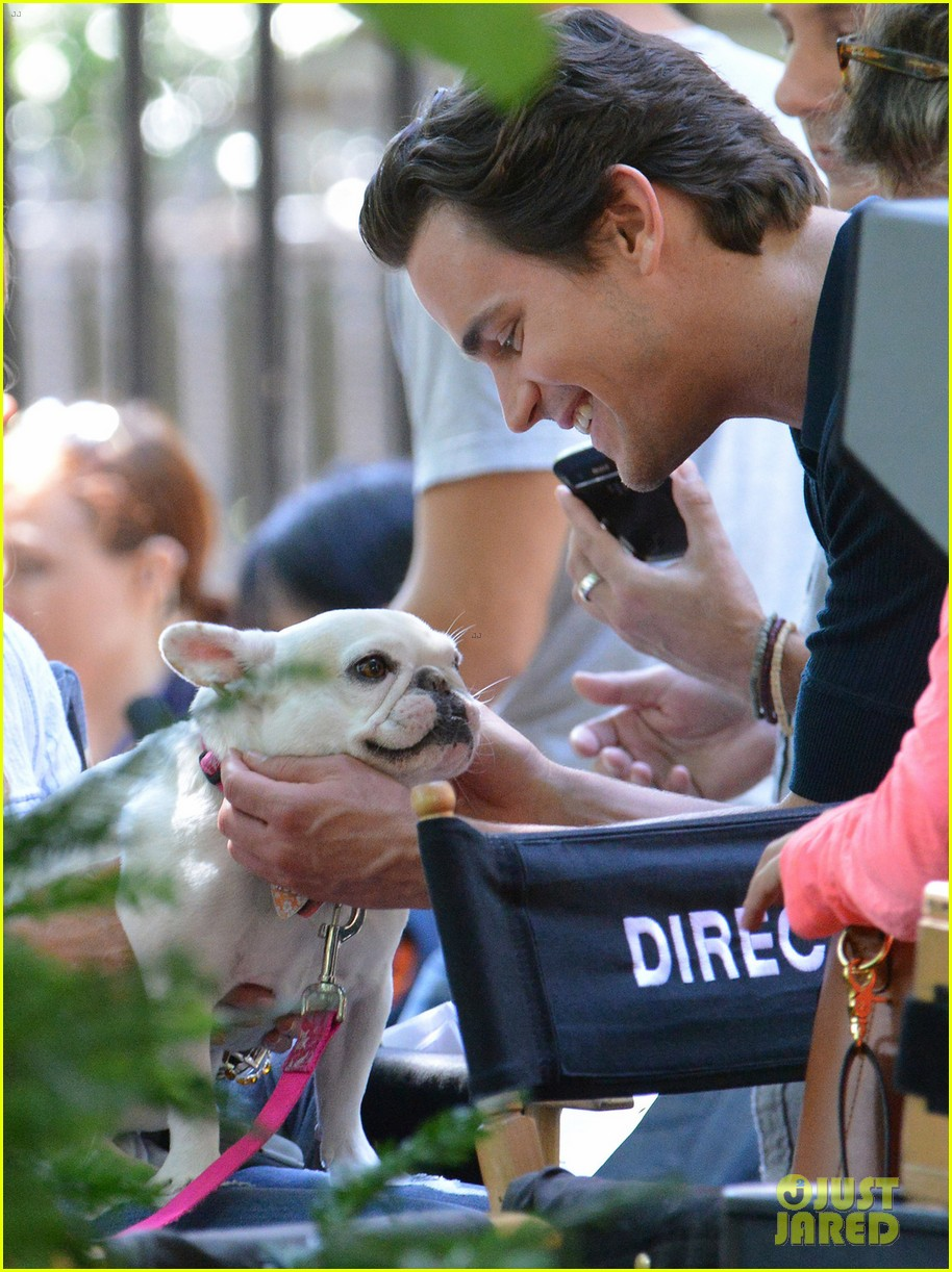 matt bomer wears jumpsuit plays with puppy 02