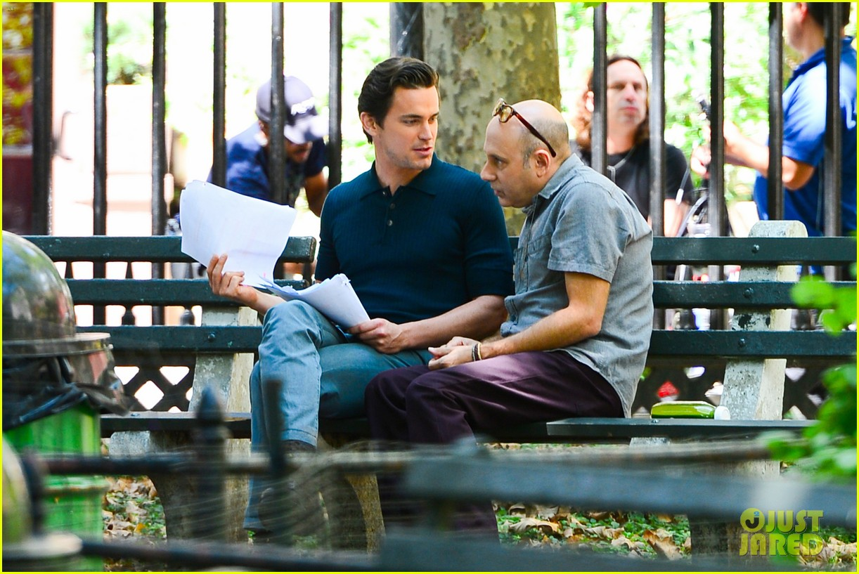 matt bomer wears jumpsuit plays with puppy 032930912