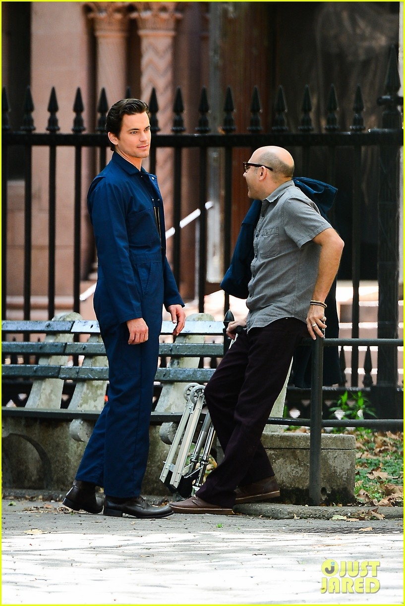 matt bomer wears jumpsuit plays with puppy 102930919