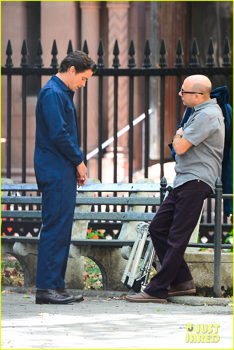matt bomer wears jumpsuit plays with puppy 142930923