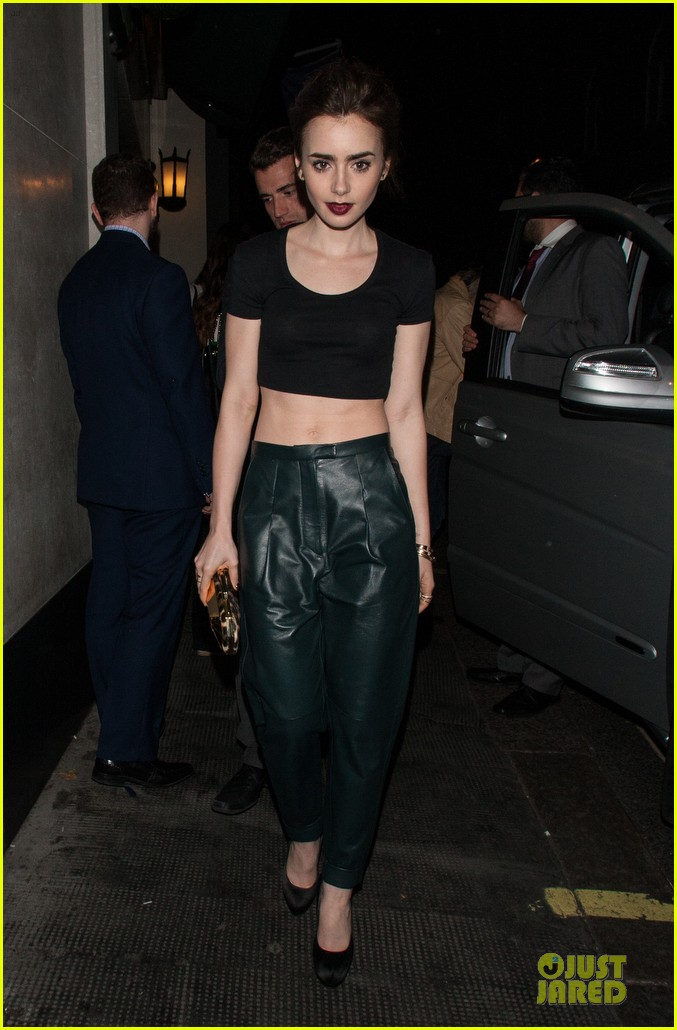 lily collins brings toned abs to ivy club with jamie campbell bower 05
