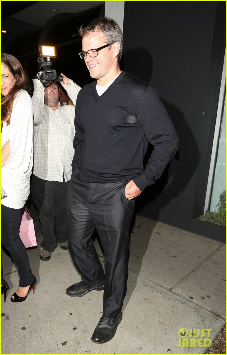 matt damon madeo dinner with wife luciana 07