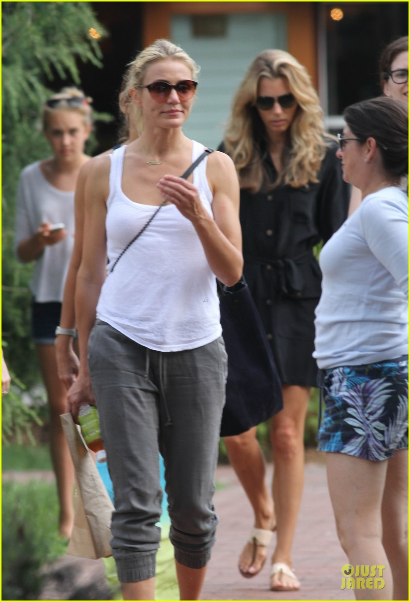 cameron diaz shows toned arms for friends gathering 022936412