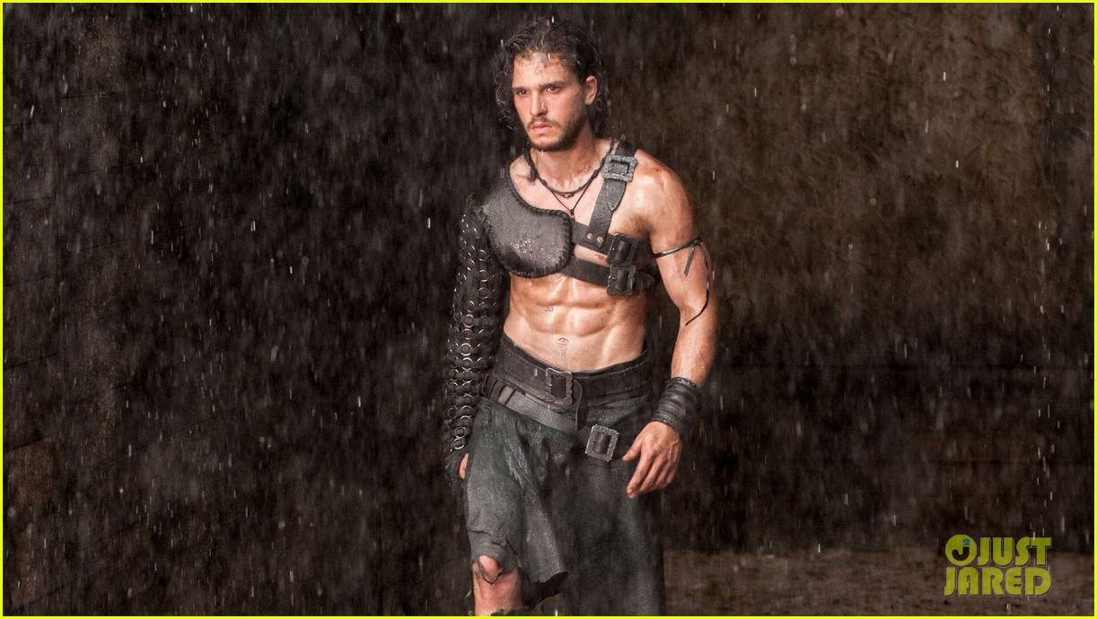 kit harington shirtless ripped for pompeii trailer