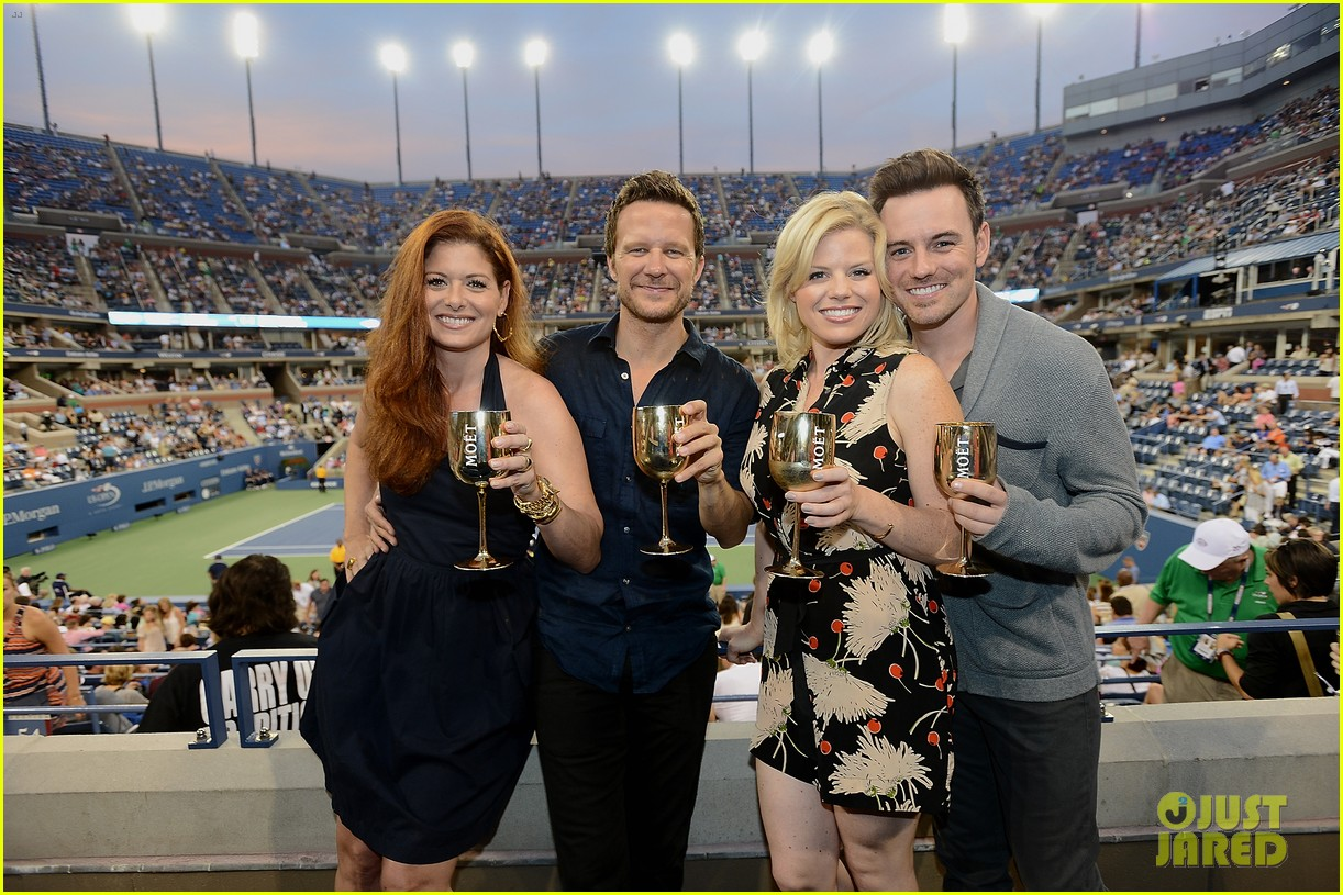 megan hilty debra messing smash reunion at us open 092941039