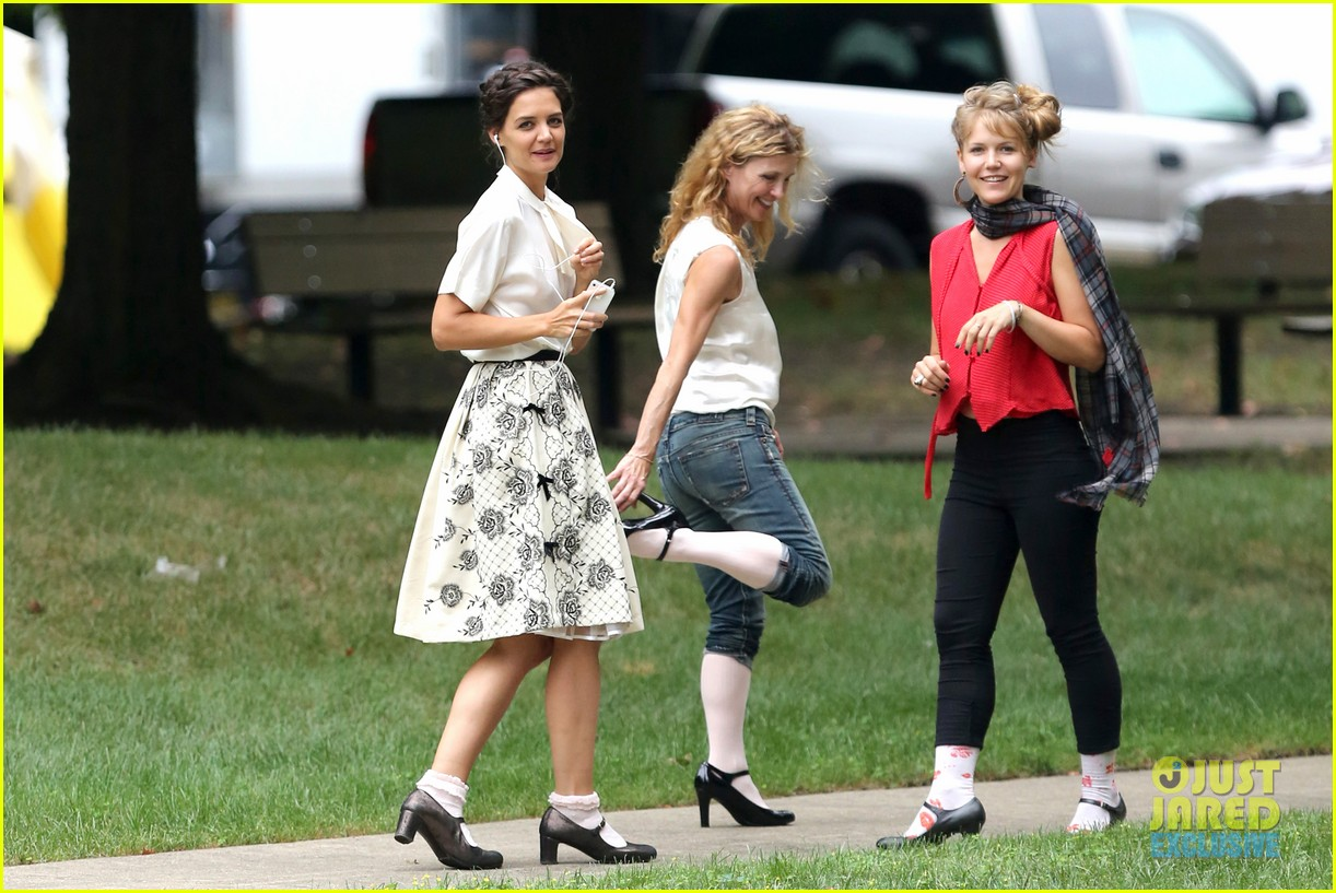katie holmes dances along to songs on miss meadows set 252939819