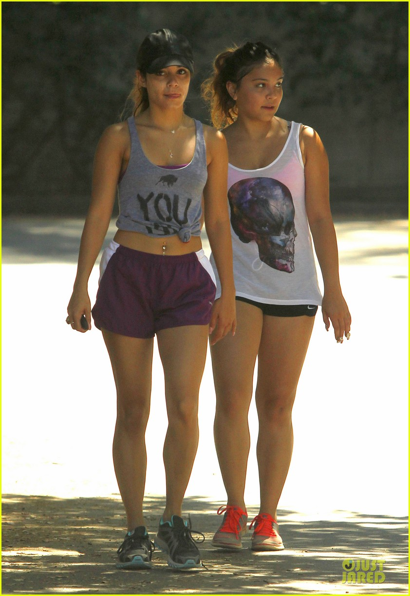 vanessa hudgens shows pierced belly button for hike 072934293