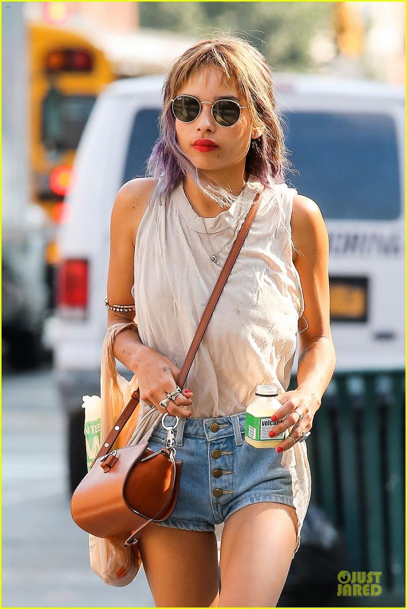 zoe kravitz purple hair in new york 022934588