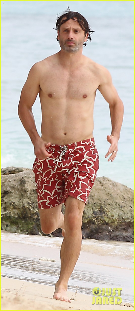 andrew lincoln goes shirtless on family vacation 052928638