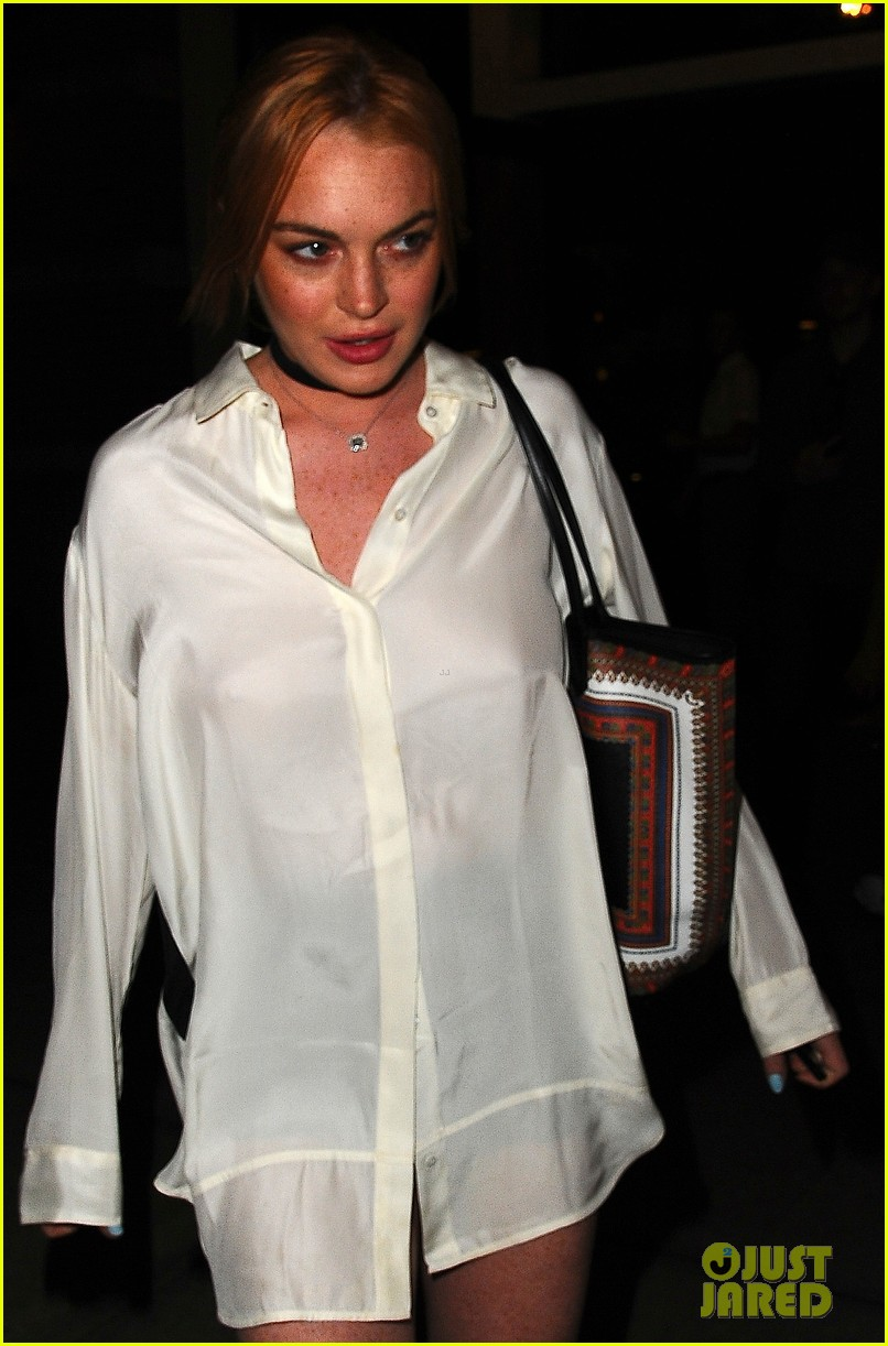 lindsay lohan wears button down as dress in nyc 032934850