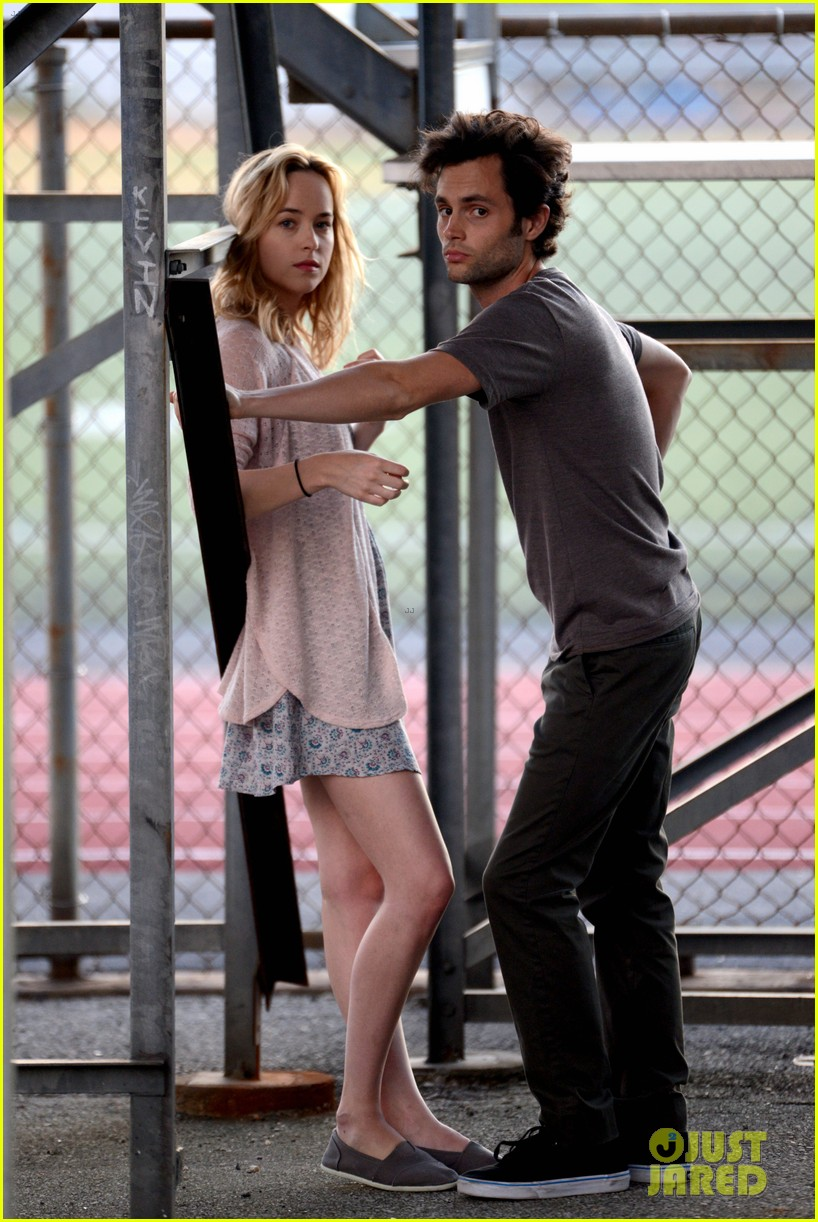 penn badgley cymbeline filming with dakota johnson 01