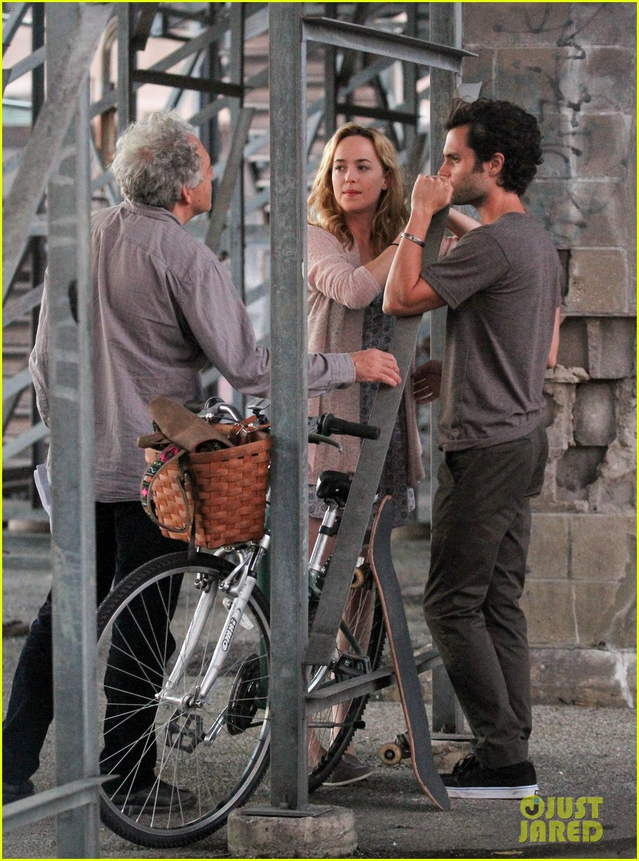 penn badgley cymbeline filming with dakota johnson 042937448