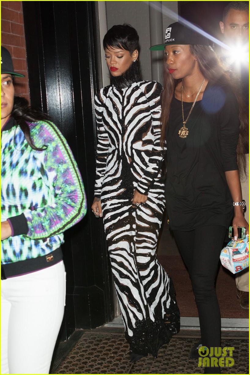 rihanna zebra gown for asap rocky video shoot 01
