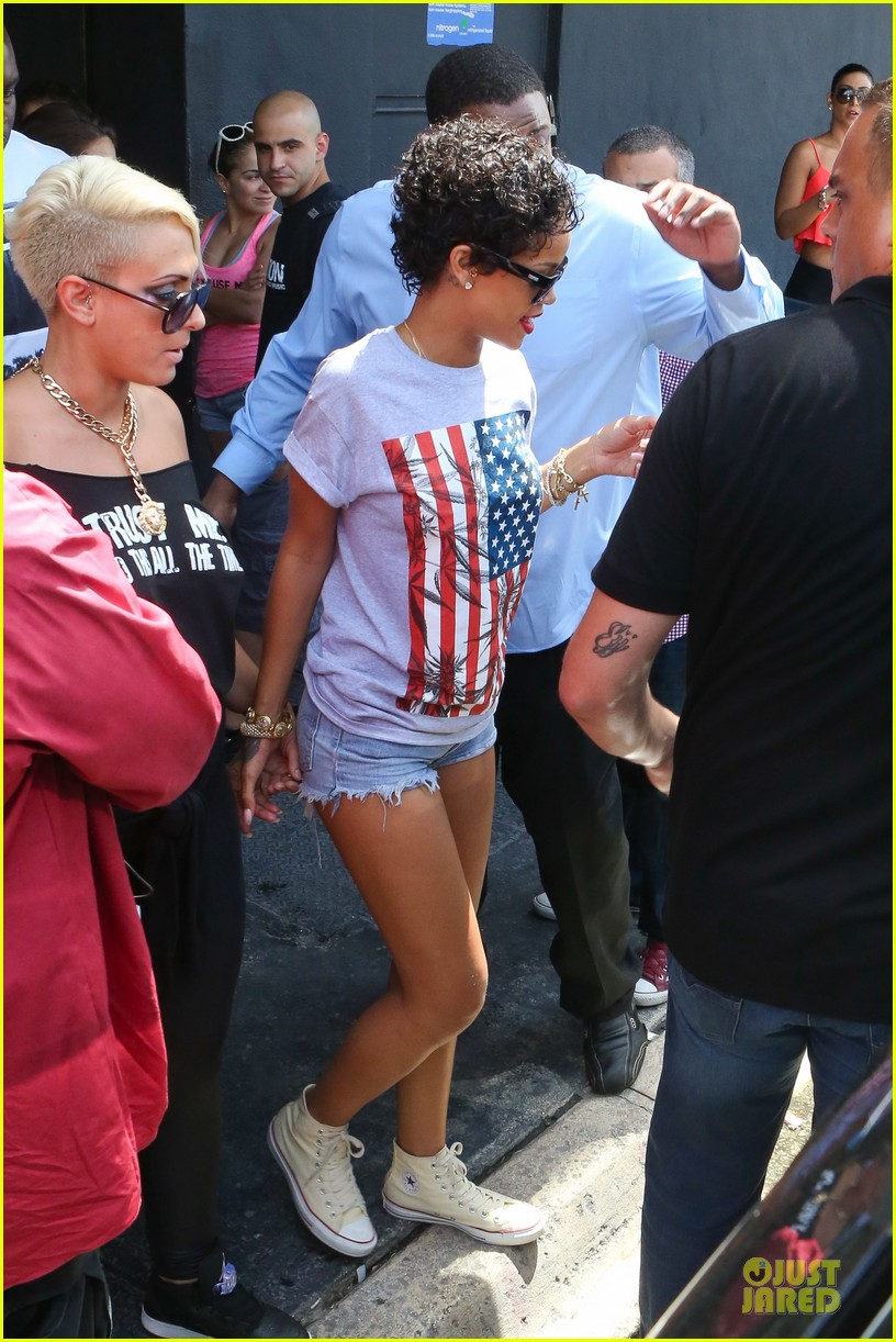 rihanna sports american flag for miami outing 132928349