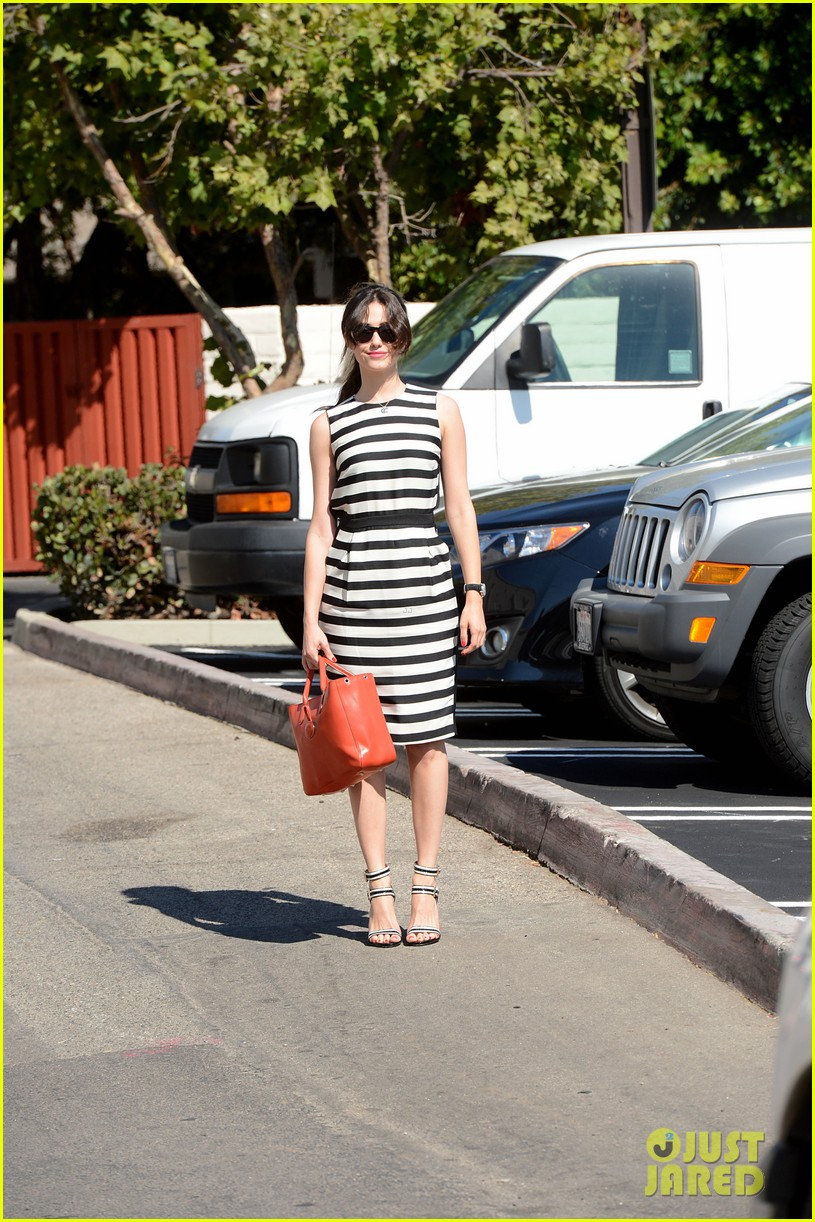 emmy rossum shows her stripes in brentwood 032926630