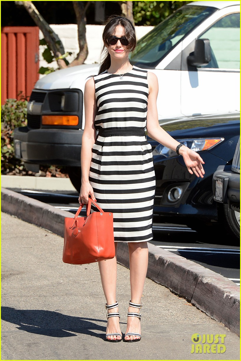 emmy rossum shows her stripes in brentwood 052926632