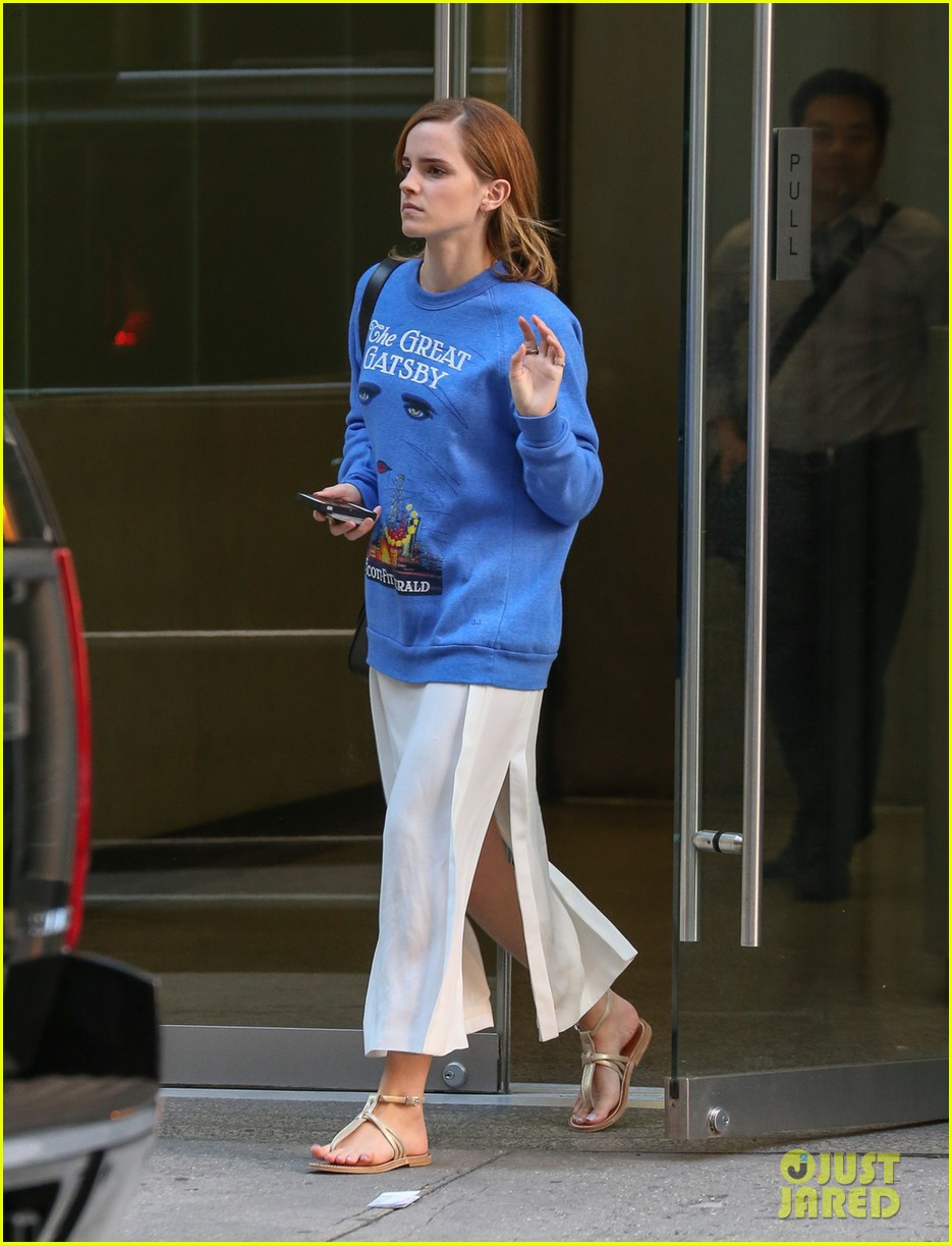 emma watson wears great gatsby sweatshirt over dress 032930927