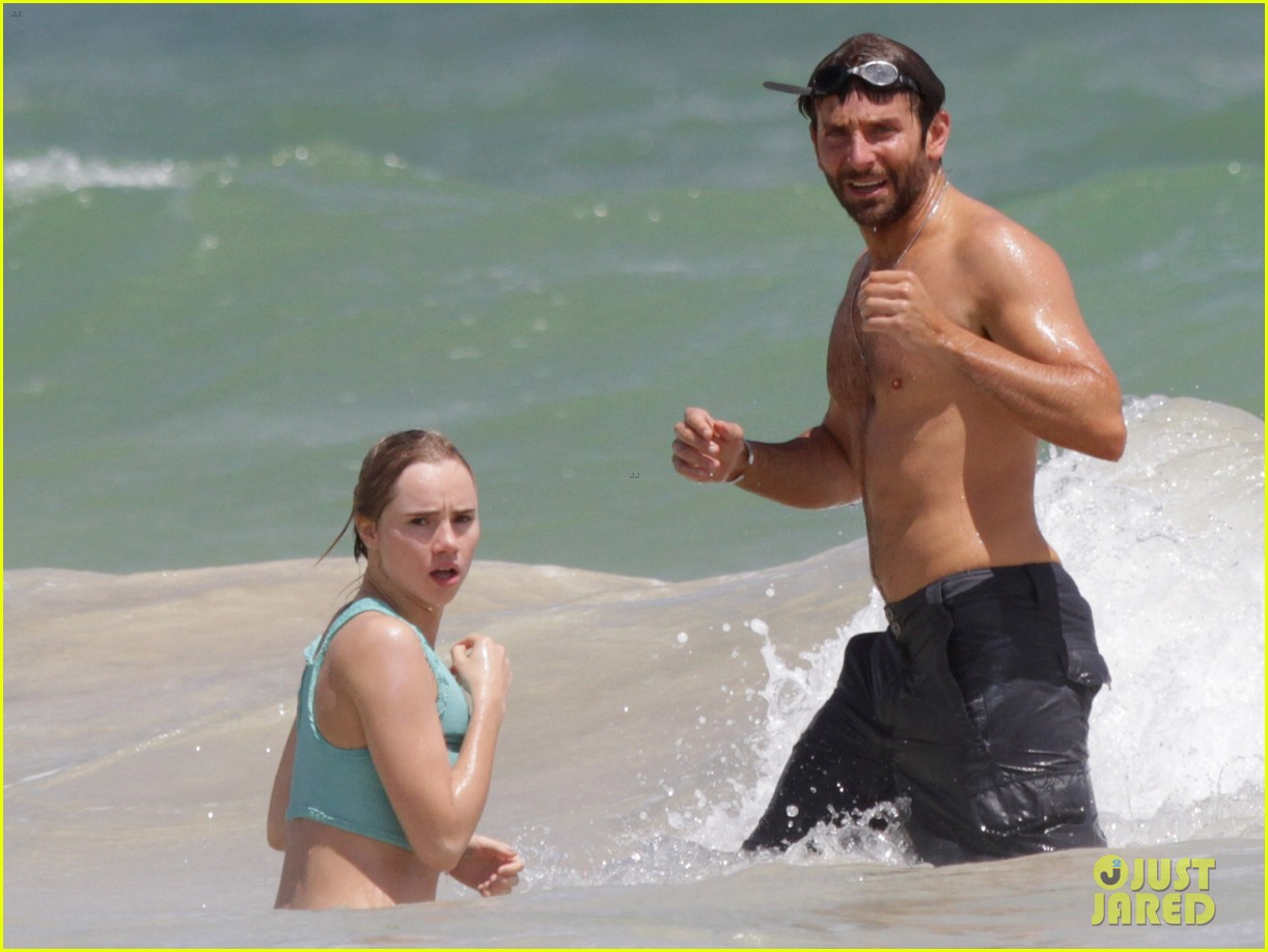 bradley cooper shirtless at the beach with suki waterhouse 032963523