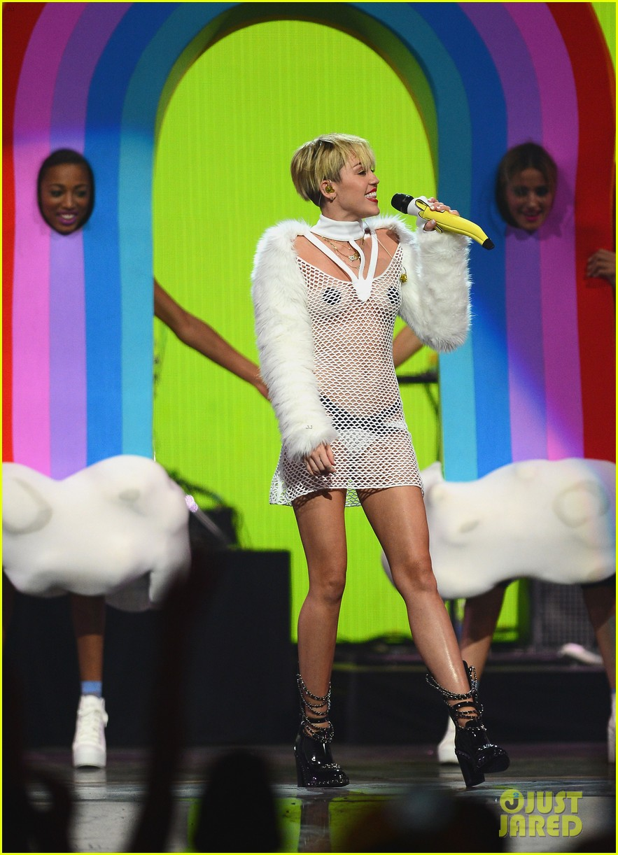 miley cyrus sings wrecking ball in nearly nude outfit video 222957241